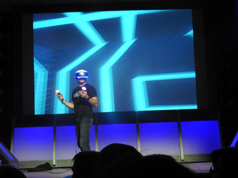 PlayStation VR demo on stage at the PSX event.