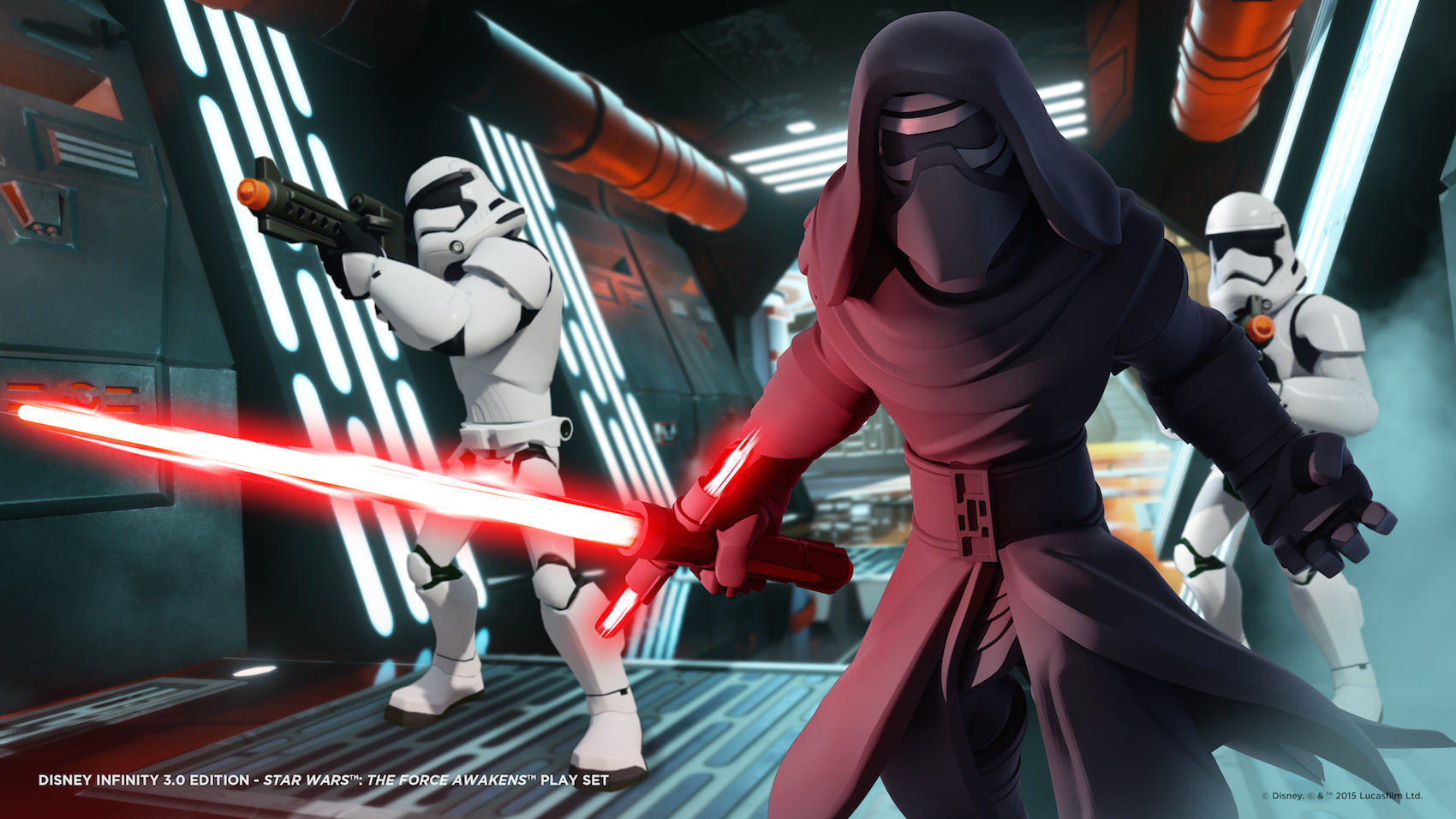 Kylo Ren and the First Order stormtroopers.