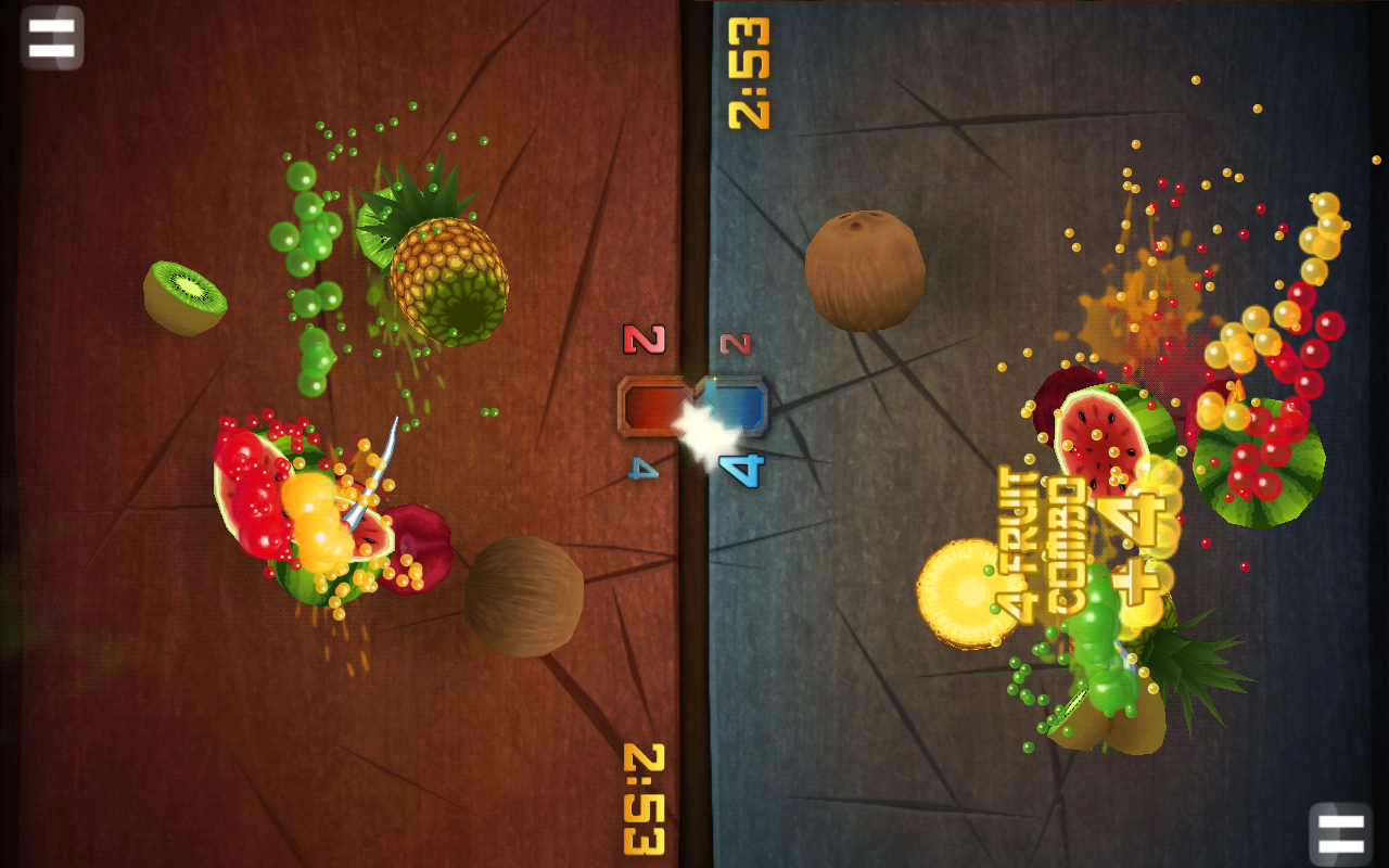 Fruit Ninja has a great local multiplayer option.