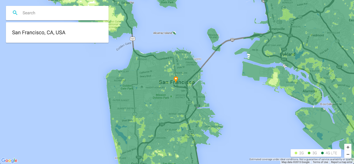 Google Project Fi coverage in the San Francisco area with a data-only SIM card.