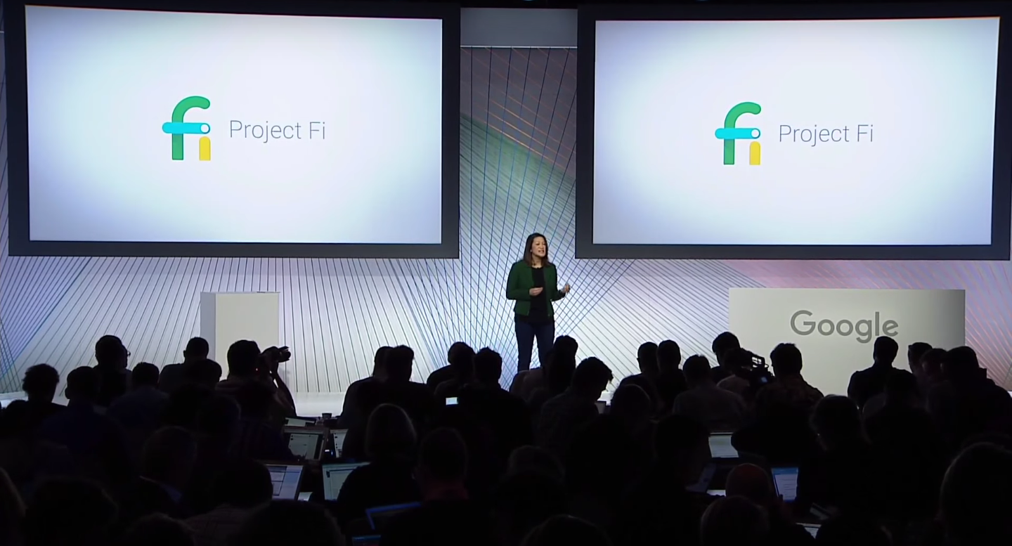 Google director of product management Sabrina Ellis announces that the Nexus 5X and 6P will support Project Fi at a press event in San Francisco on September 29.