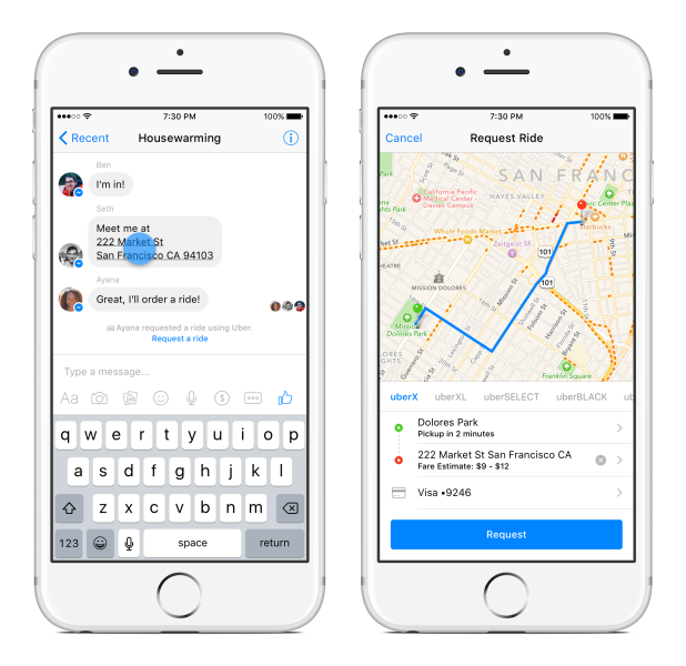 Messenger Uber Request Ride
