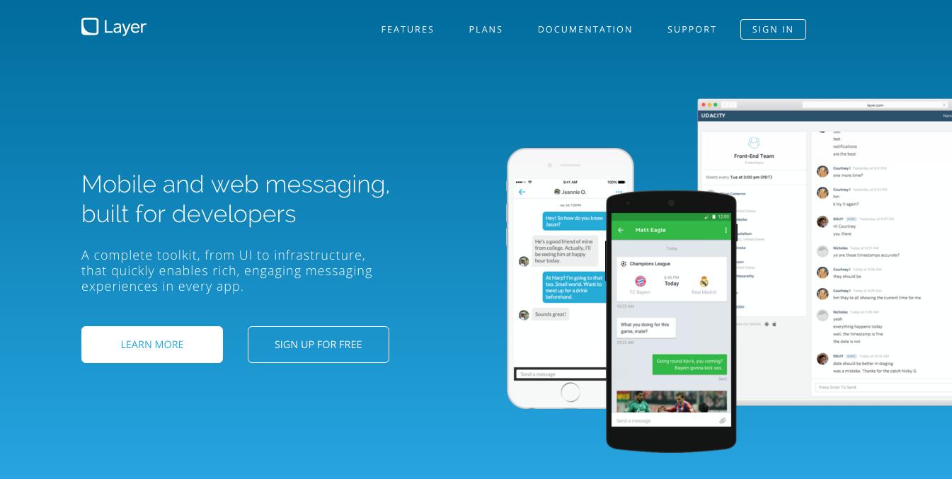 Layer homepage screenshot