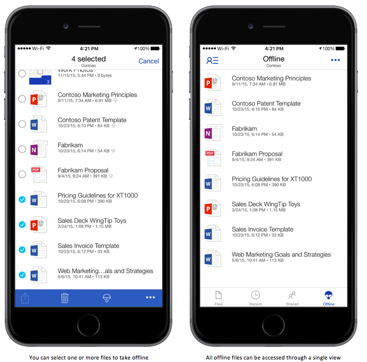 OneDrive for IOS will get offline support.