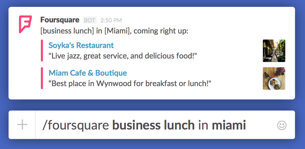 Foursquare bot integration in Slack