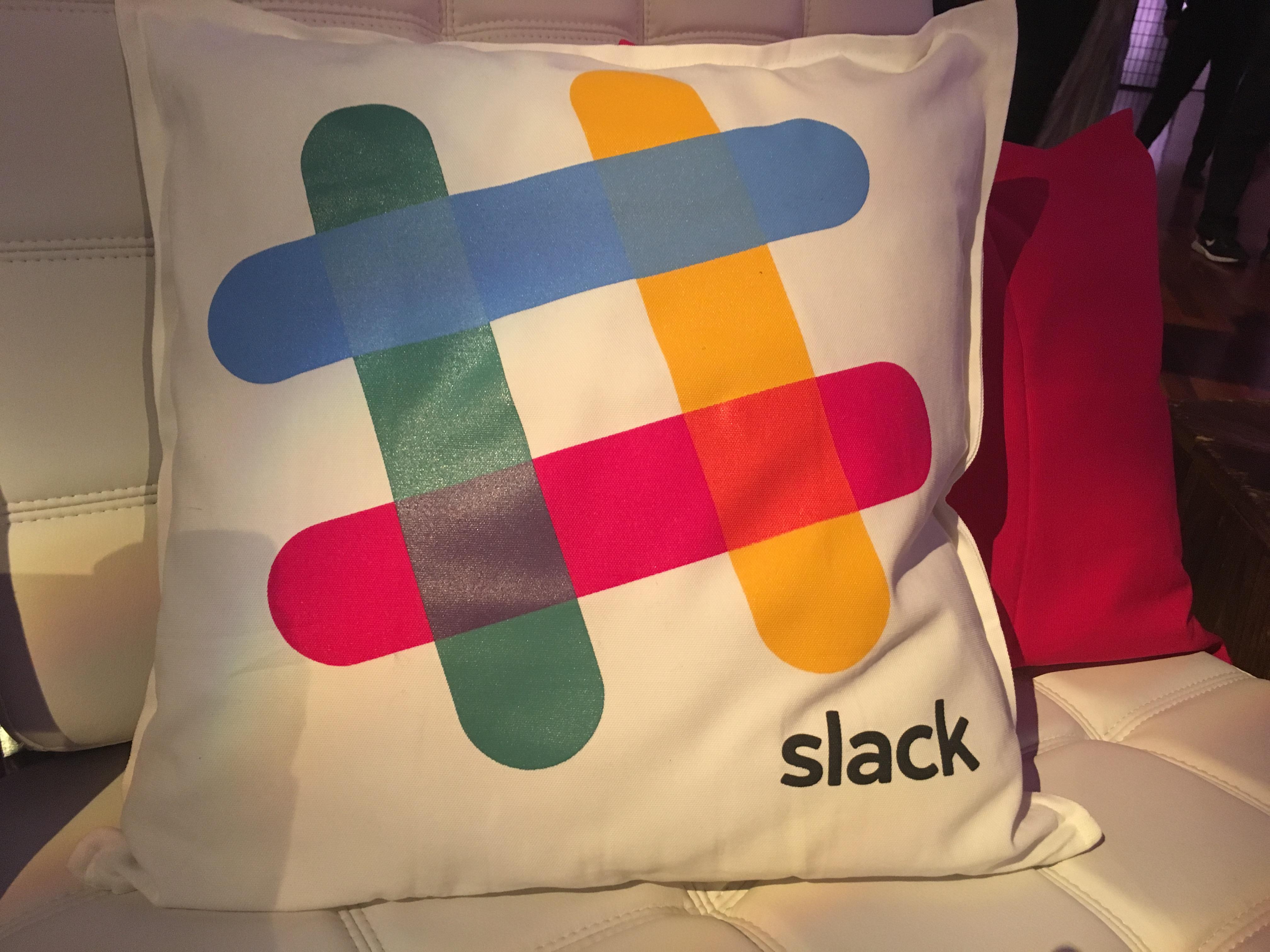 A Slack pillow at a Slack event in San Francisco on December 15.