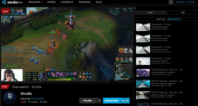Azubu's user interface for viewing esports.