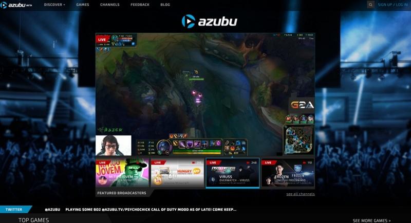 Azubu's user interface for viewing livestreamed gameplay.