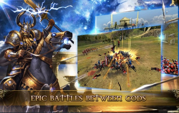 Clash of Gods combines a card game with massive 3D battles.