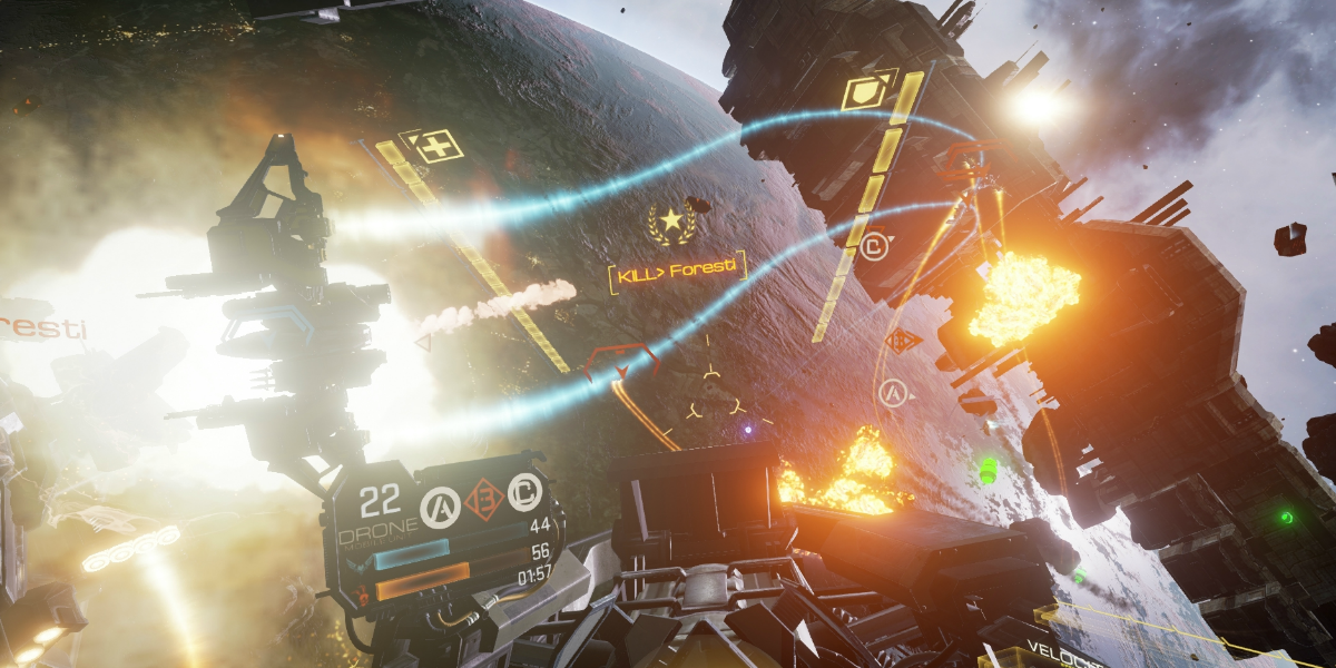 A space battle in Eve Valkyrie.