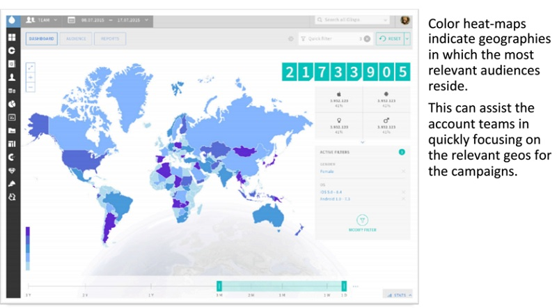 The Glispa Audience Platform helps identify territories where relevant audiences are for publishers and advertisers.
