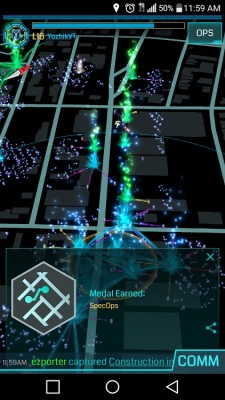 A screen showing the action in Ingress.