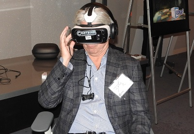 John Riccitiello, CEO of Unity Technologies, gives Esper 2 a whirl with the Samsung Gear VR.