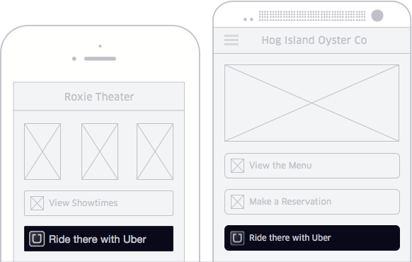 Uber Ride Request buttons wireframe
