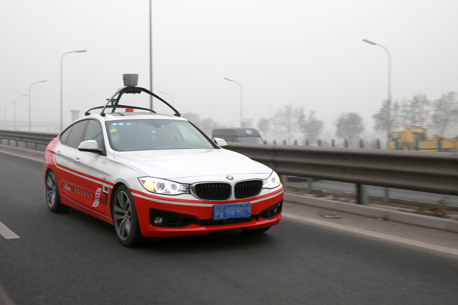 Baidu's autonomous self-driving car on road