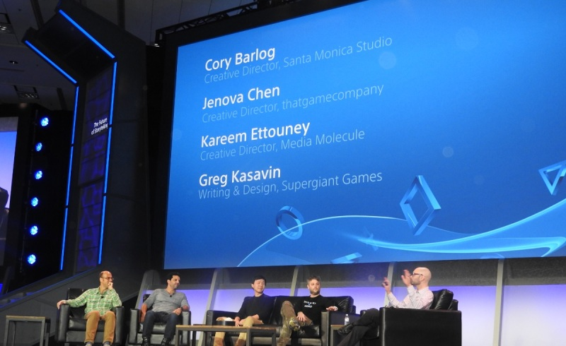 Storytelling panel from left to right: Greg Kasavin of Supergiant Games (not pictured), Kareem Ettouney of Media Molecule; Jenova Chen of Thatgamecompany, Cory Barlog of Sony, and Ryan Clements of Sony.