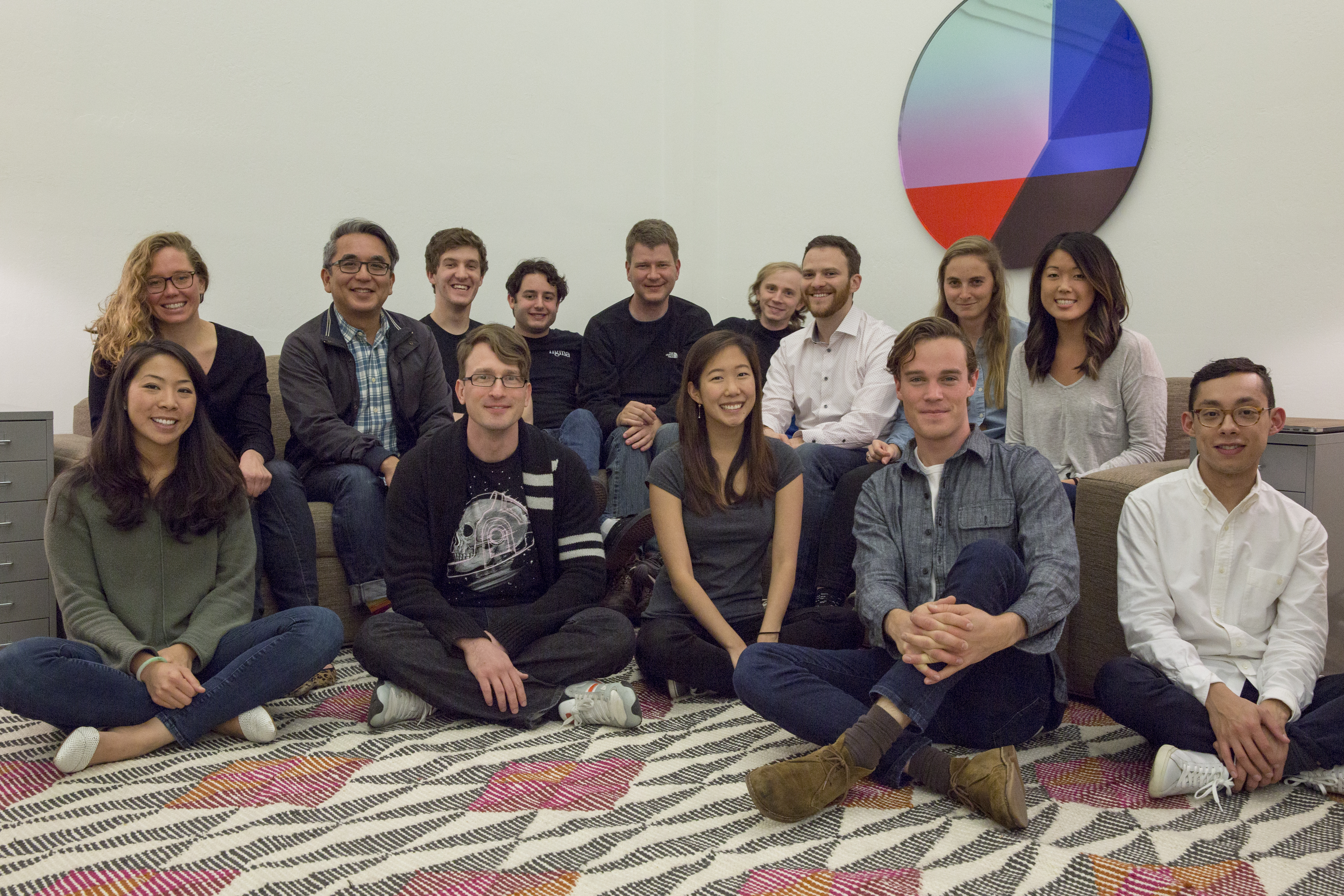The Figma team. Cofounder and chief executive Dylan Field is fourth from left, back row. Cofounder and chief technology officer Evan Wallace is fourth from right, back row.