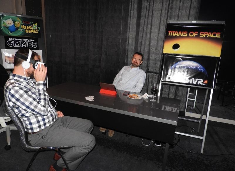 Titans of Space VR game at Unity event.