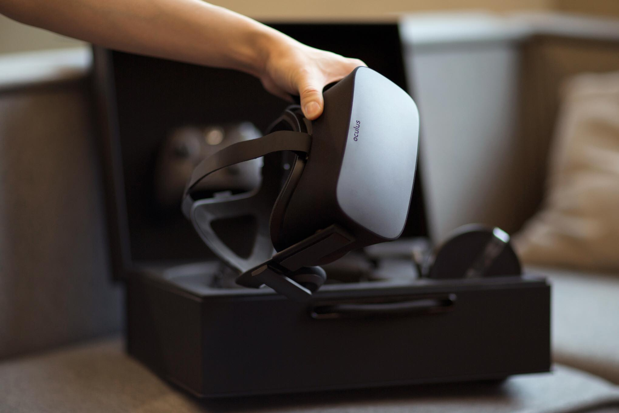Photo of an Oculus Rift virtual reality headset.