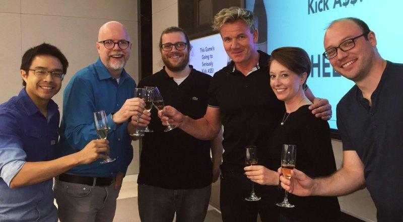 Celebrity chef Gordon Ramsay with Doom designer Tom Hall and the PlayFirst team.