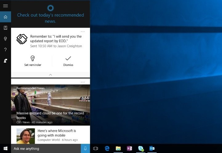 Cortana Reminder: Email