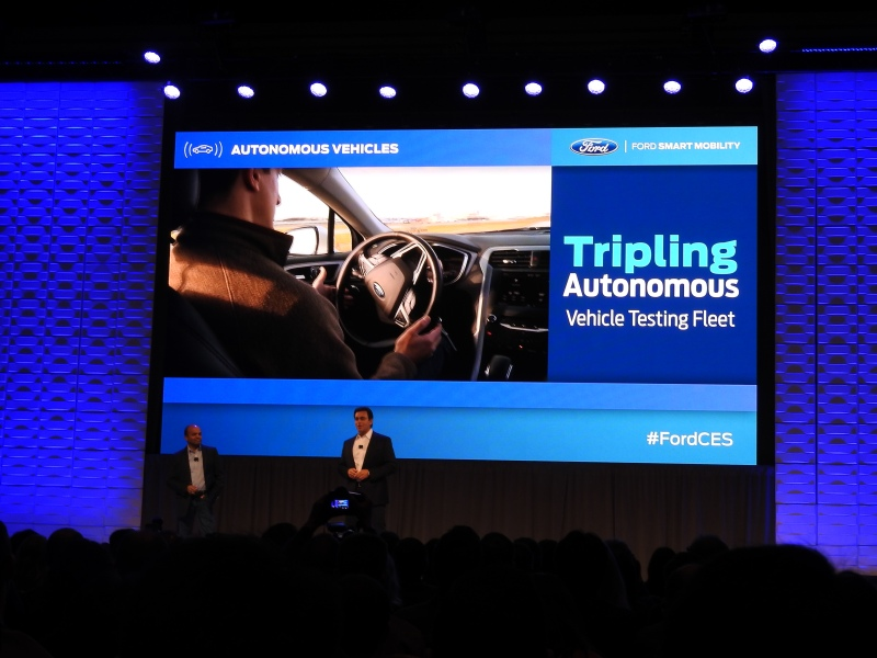 Ford's CEO Mark Fields on stage at CES 2016.