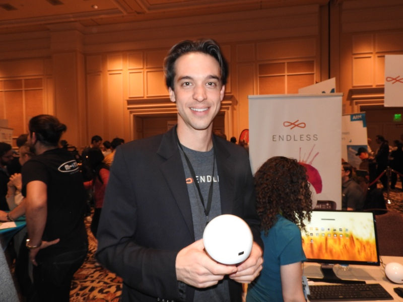 Matt Dalio shows off the Endless Mini, a $79 computer at CES 2016.