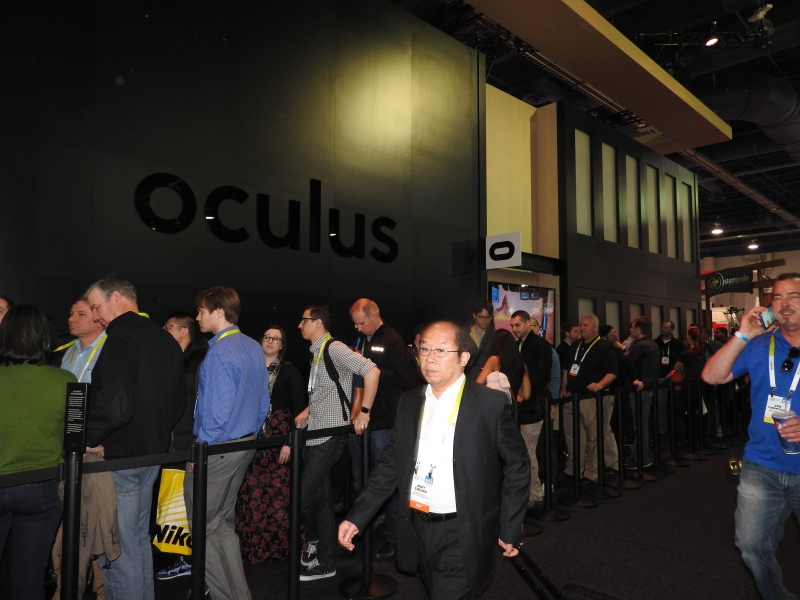 There was a long line to try out the Oculus Rift at CES 2016.