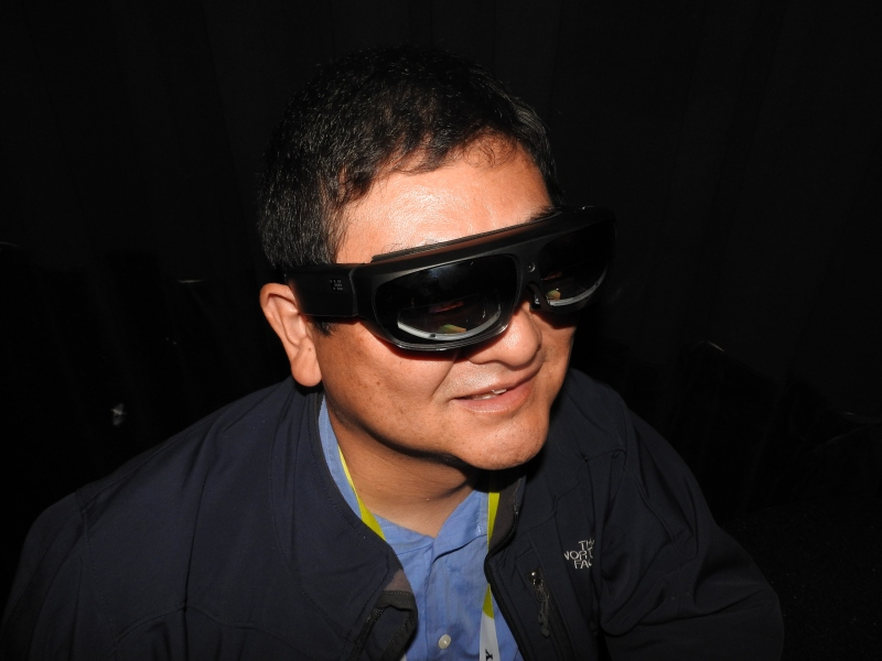 Dean Takahashi demos ODG's augmented reality glasses.
