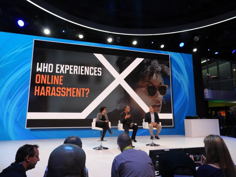 Intel's panel on hacking online harassment. At center is CEO Brian Krzanich.