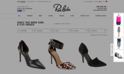 A screenshot of personalized recommendations from Rue La La.