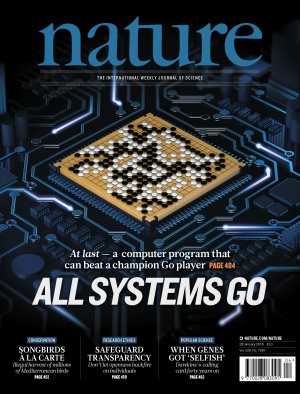 The cover of the January 28, 2016, issue of Nature, which features Google's groundbreaking AI research.
