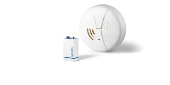 Smart smoke alarm battery lasts five years, won't chirp, and messages you or ADT when the alarm goes off