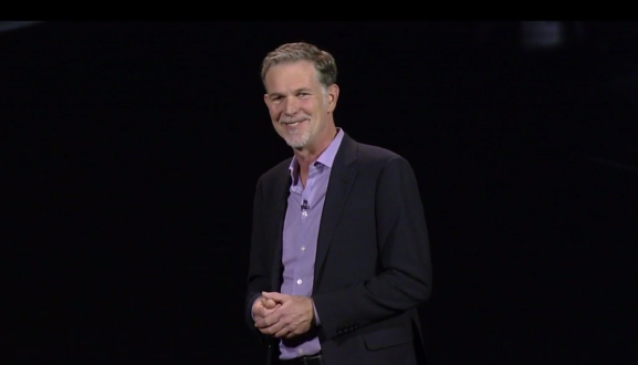 Netflix CEO Reed Hastings on stage at CES 2016
