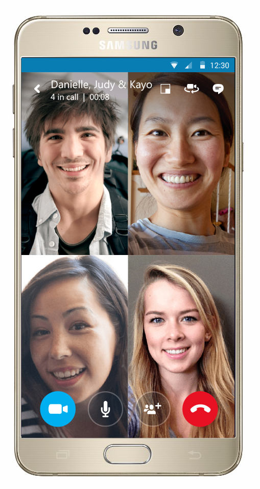 A Skype group video call on Android.