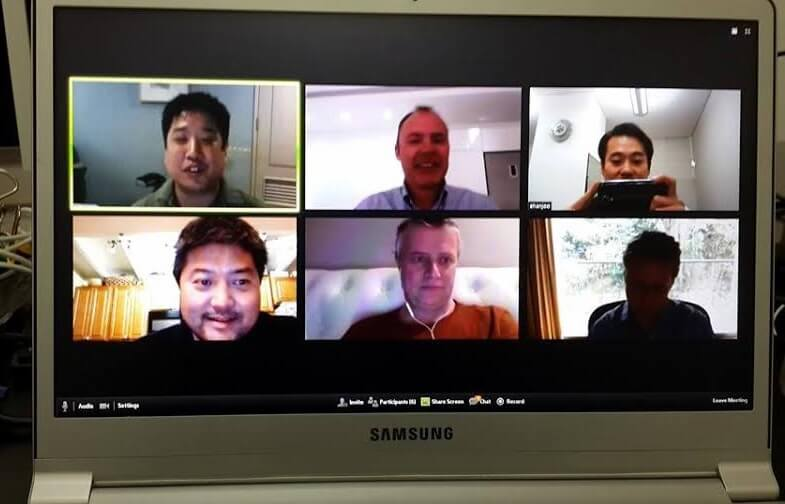 The SparkLabs team on a weekly video call.