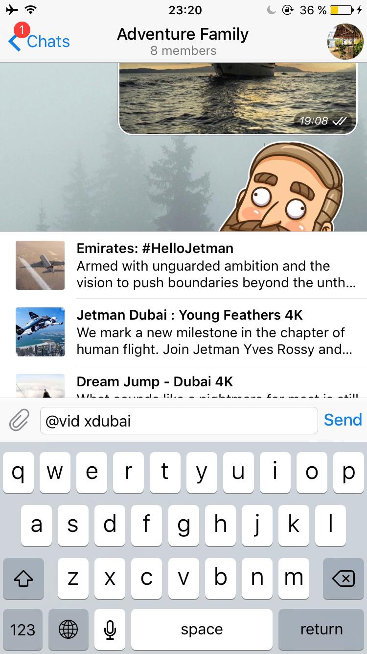 Telegram's inline bot for YouTube videos.