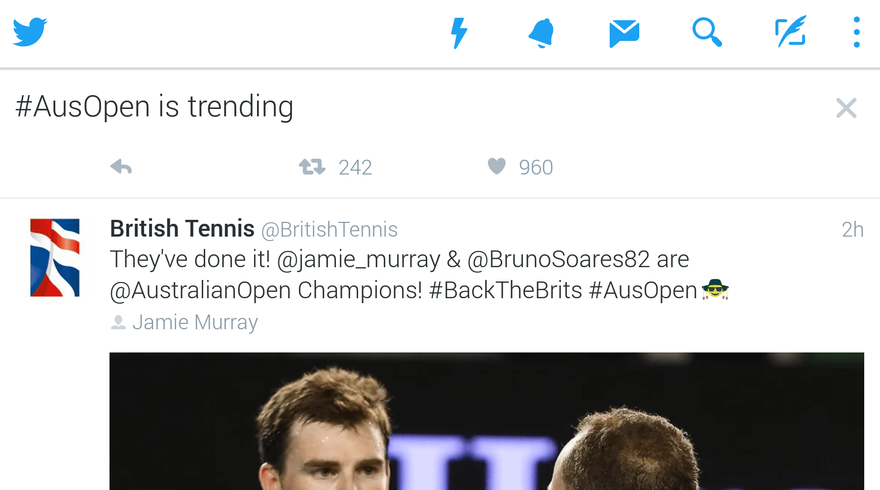 "Tweet 2/5 in the ""#AusOpen is trending"" box in my timeline."