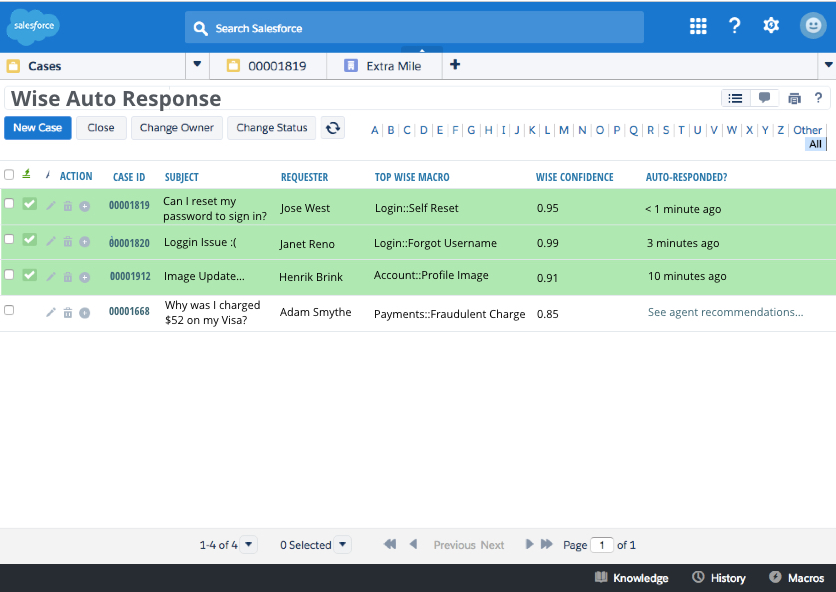 Wise.io's Auto Response feature in Salesforce.