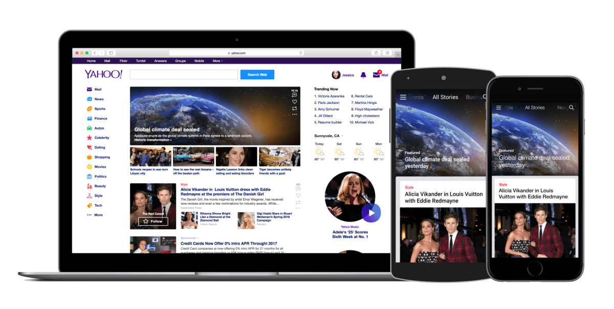 Yahoo updates its homepage and mobile app to display