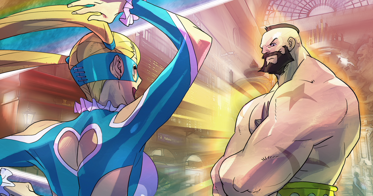 Street Fighter V R.Mika vs. Zangief Bengus artwork