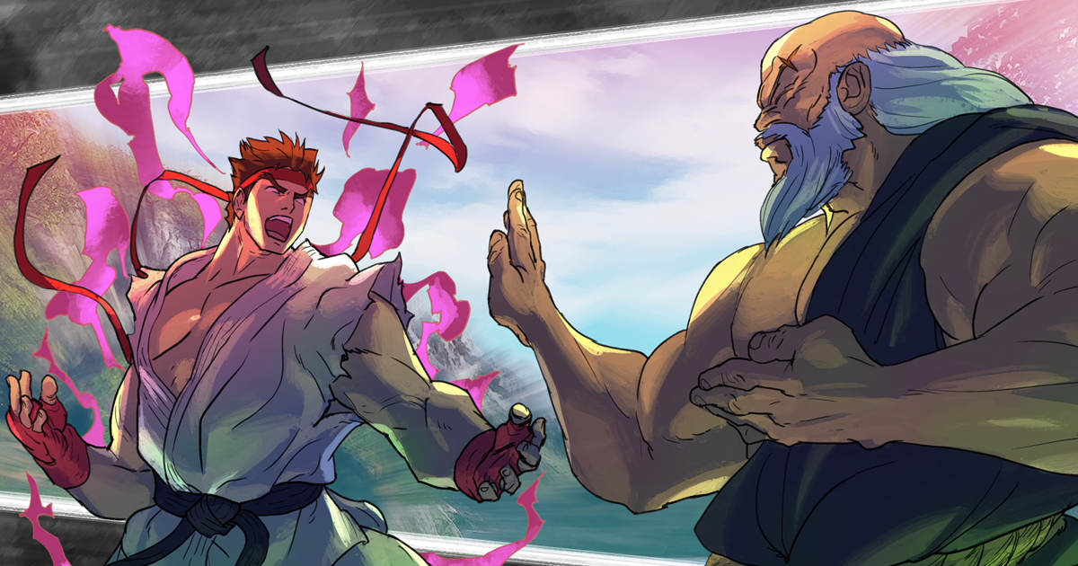 Street Fighter V Ryu vs. Gouken Bengus artwork