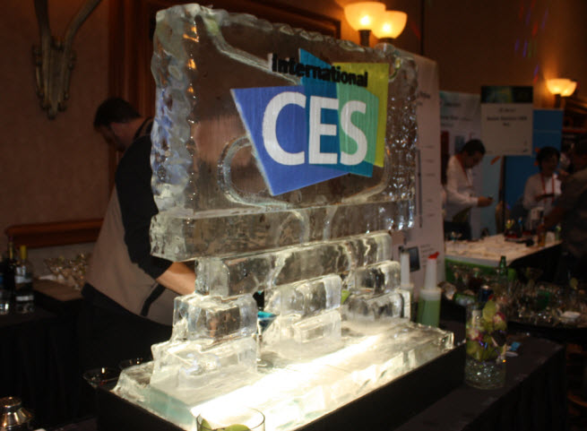 An ice sculpture from a party at CES 2015.
