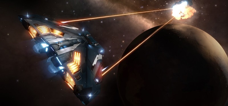 Elite Dangerous can do space combat in VR.