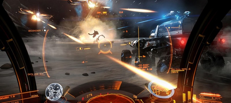 Elite Dangerous lets you fight and explore on the ground in a rover.