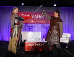 Kate Edwards of the IGDA and Dean Takahashi of GamesBeat at GamesBeat 2015.