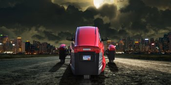 The fateof this 3-wheeled, futuristic, '84-MPG' car depends on government loans