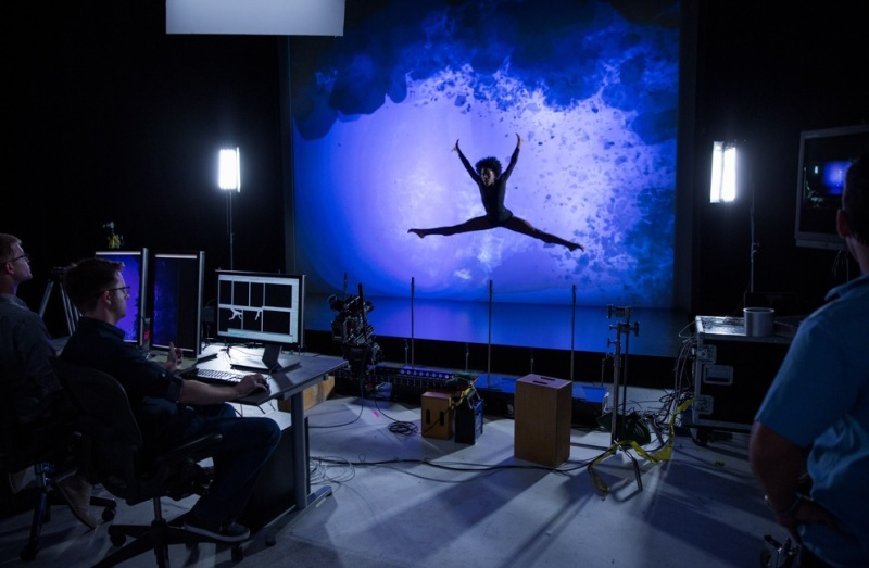 Dancer Paige Fraser's performance is captured by an Intel RealSense 3D camera.
