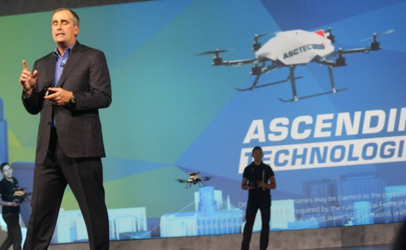 Brian Krzanich, CEO of Intel, demos the Firefly drones from Ascending Technologies at CES 2015.