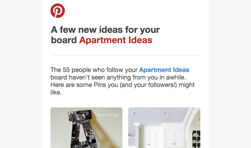 An email sent from Pinterest with content personalized to the individual receiver